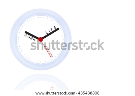 Isolated White Clock Black and Red hand with Creative Concept Work Life Success on White Background Copyspace on the Right  / Work Life Balance Integrated for Success People - stock photo