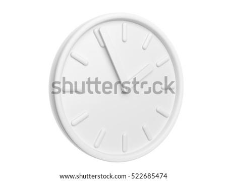 Isolated White Clock. 3D Illustration