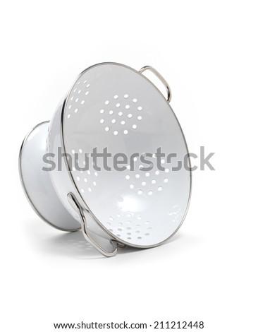 Isolated white Colander - stock photo