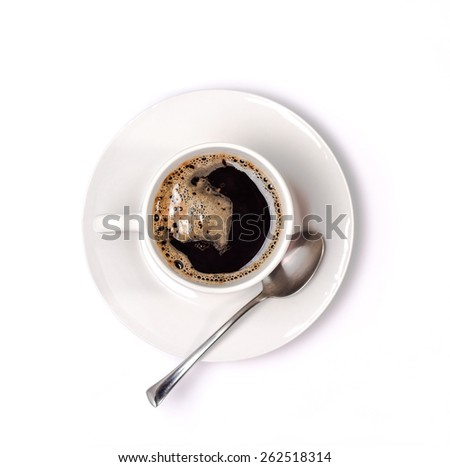 isolated white cup of coffee with saucer. View from above - stock photo