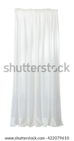 ISOLATED WHITE CURTAIN ON WHITE BACKGROUND