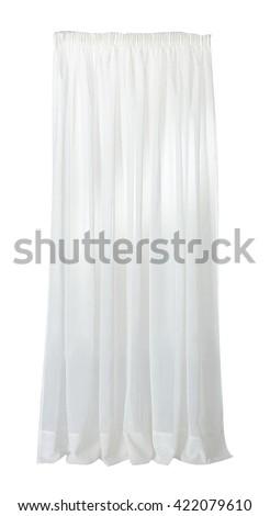 ISOLATED WHITE CURTAIN ON WHITE BACKGROUND - stock photo