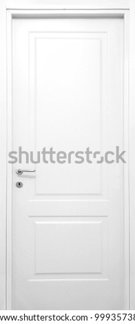 Isolated white door - stock photo