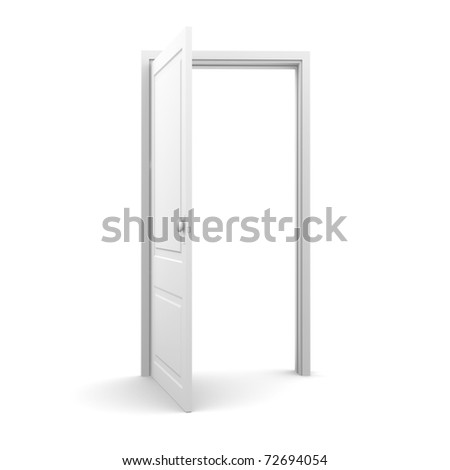 Isolated white door from front