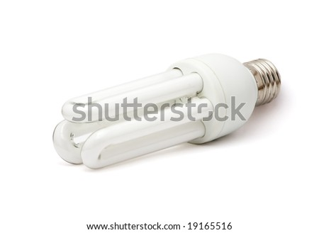 Isolated white fluorescent lamp. White background. - stock photo