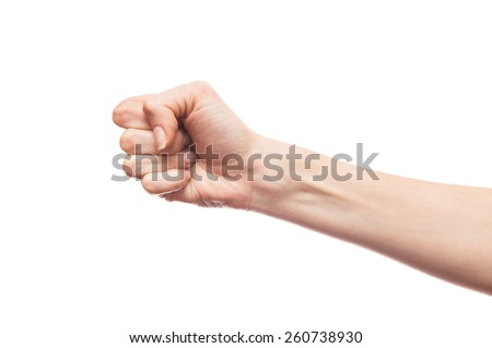 Isolated white hand showing a fist - stock photo