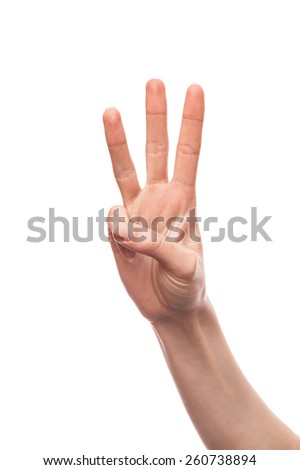 Isolated white hand showing three fingers - stock photo