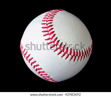 Isolated white official baseball over black background - stock photo