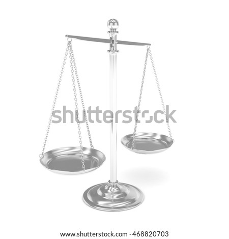 Isolated white silver scales on white background. Symbol of judgement. Law, measurement, liberty in one concept. 3D rendering.