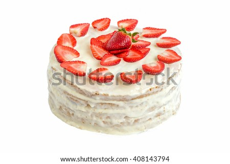 Isolated white strawberry cake covered with eggs whites and gelatin, decorated with strawberries on a white background