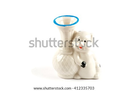 Isolated white vase with pig over white