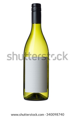 Isolated white wine bottle with blank label and white background