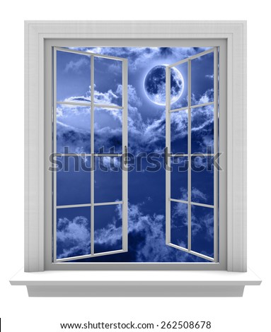 Isolated window frame on a white background, opening to a night sky and full moon - stock photo