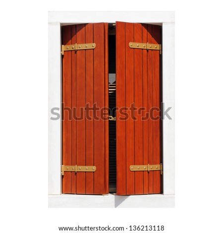isolated window with ajar classic wooden shutters - stock photo