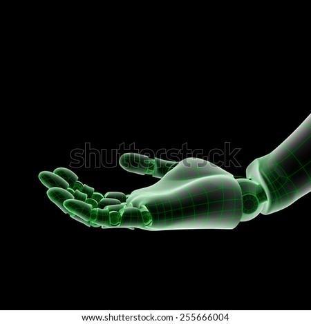 Isolated wired robotic hand 3d render - stock photo