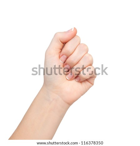 isolated woman hand clenched in a fist - stock photo