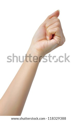 isolated woman hand clenched in a fist