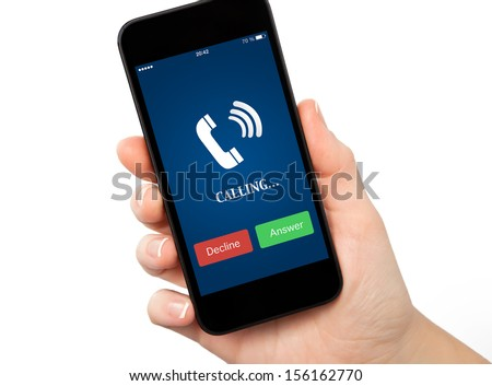 isolated woman hand holding a touch phone with blue screen and the phone ringing tube - stock photo