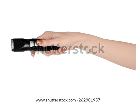 Isolated woman hand holding electric shaver
