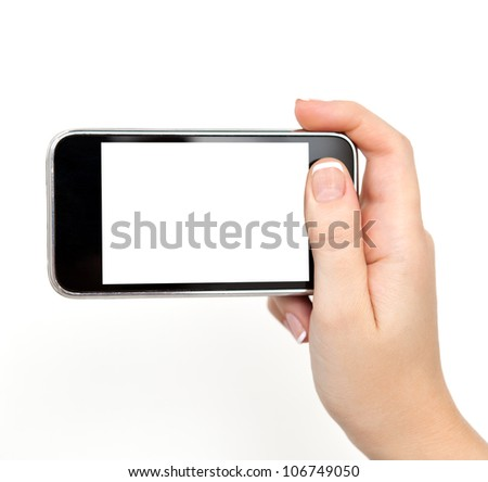 isolated woman hand holding the phone tablet touch computer gadget. - stock photo