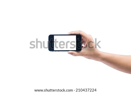 isolated woman hand holding the phone tablet touch computer gadget on white background
