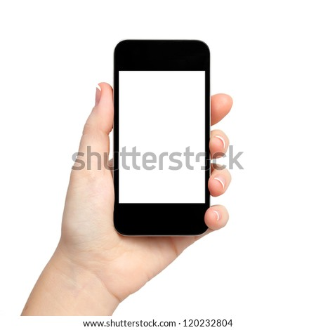isolated woman hand holding the phone tablet touch computer gadget with isolated display - stock photo
