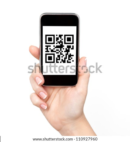 isolated woman hand holding the phone tablet touch computer gadget with qr code - stock photo