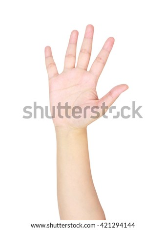 isolated woman hand shows the number five