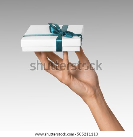 Man Holding Gift Box Contains Cd Stock Photo 102632000 ...