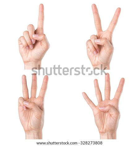 isolated woman hands show the number one, two, three, four - stock photo