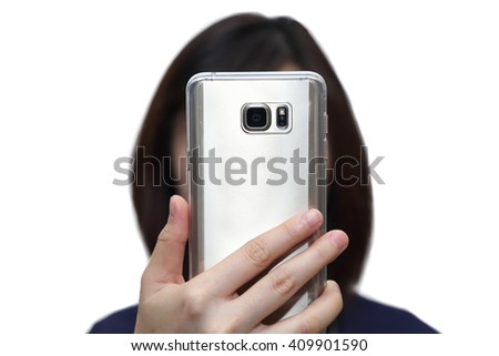 isolated woman holding mobile phone