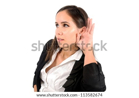 Isolated woman listening at something - stock photo