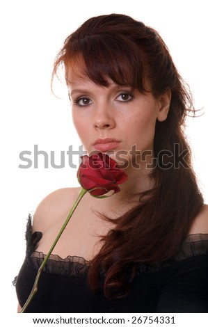 Isolated woman with rose