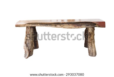 Isolated wooden bench with clipping path - stock photo