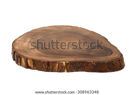 Isolated wooden cutting board made from whole piece of cherry wood with bark - stock photo