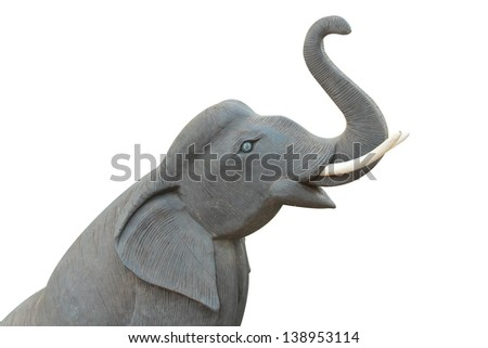 isolated  wooden elephant  model in white background