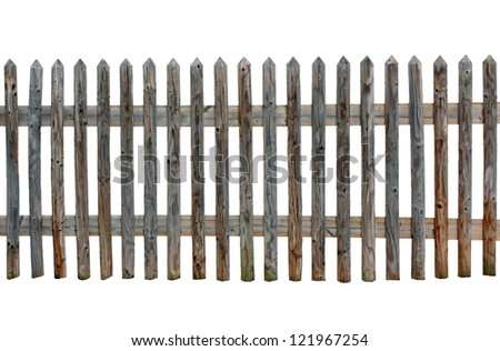 isolated wooden fence with white background