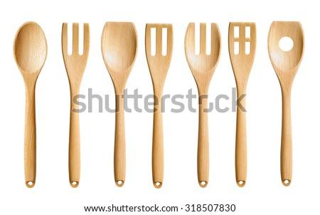 Isolated Wooden Kitchen Utensils - stock photo