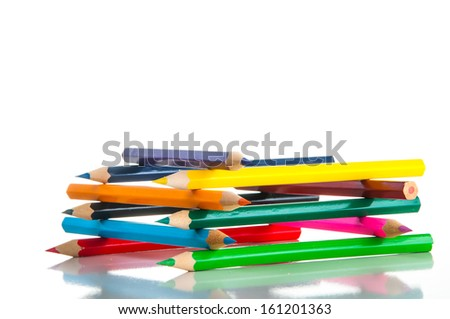 Isolated wooden pencils, white background
