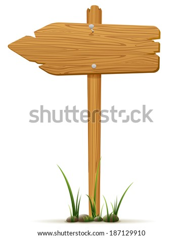 Isolated wooden sign in a grass, illustration. - stock photo