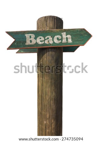 Isolated Wooden Sign Pointing To The Beach With White Background - stock photo