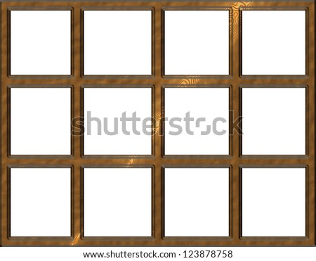 isolated wooden window frame with open squares