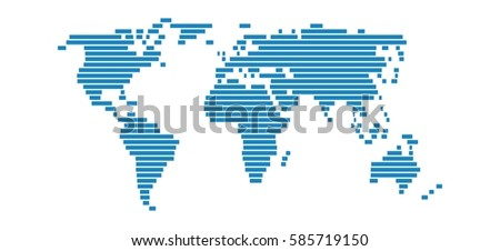 Isolated World Map with simple blue stripes on white background