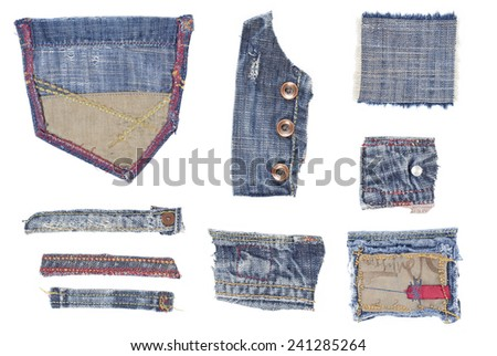 Isolated Worn Jeans Patches Collection Vol III - stock photo