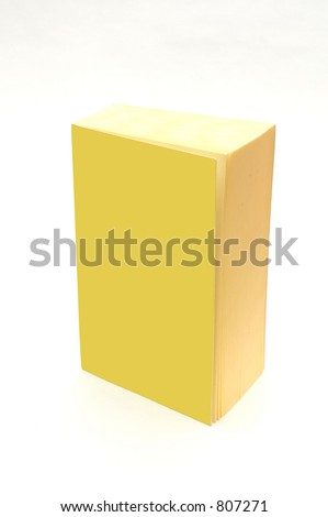 isolated yellow book with blank cover - add your text - stock photo