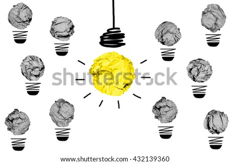 isolated yellow crumpled paper light bulb with white background creative inspiration concept metaphor for different idea  /another direction / think other way - stock photo