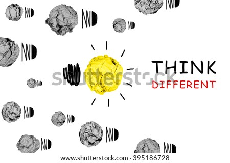 isolated yellow crumpled paper light bulb with white background inspiration concept metaphor for think different idea /another direction / think other way / solution creative - stock photo