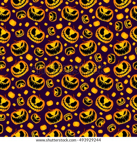 Isolated Yellow Orange Festive Scary and Spooky Halloween Pumpkin on Purple Background, Raster Holiday Seamless Halloween Pattern