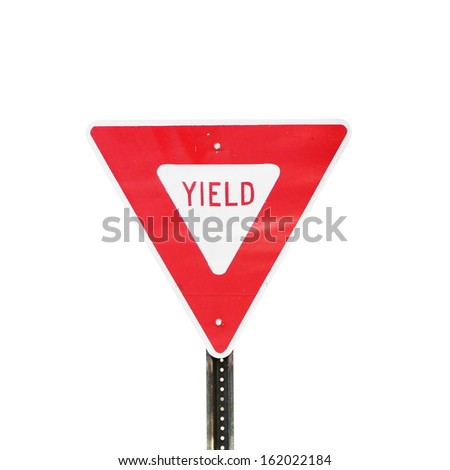 isolated yield sign - stock photo