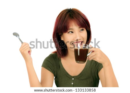 Isolated young asian woman with a cup of coffee - stock photo